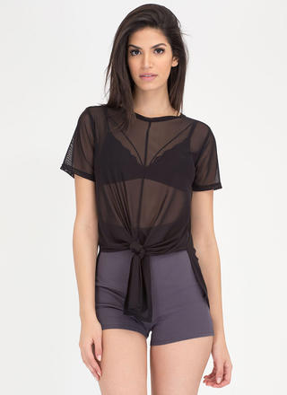 Knot So Fast Sheer Mesh High-Low Top