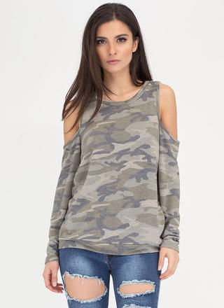 Camo Back For More Cold Shoulder Top