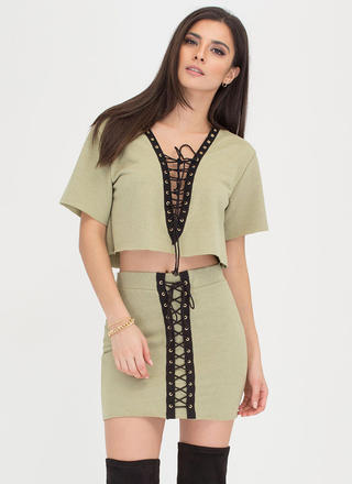 Loving Lace-Up Crop Top And Skirt Set
