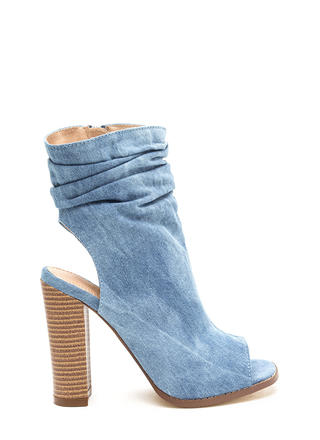 Heel Me Slouchy Cut-Out Denim Booties