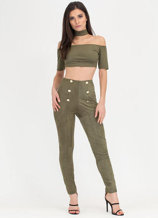 Chic Story Choker Top 'N Pants Set