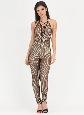 Do The Wave Sheer Sequin Jumpsuit