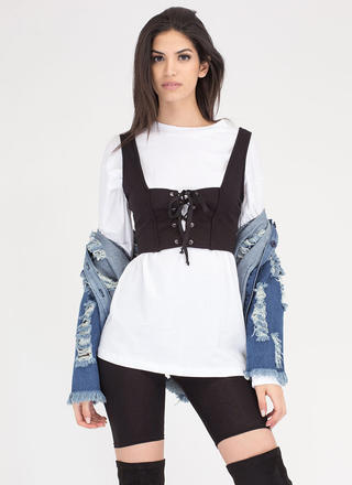 Corset Of Action Lace-Up Crop Top