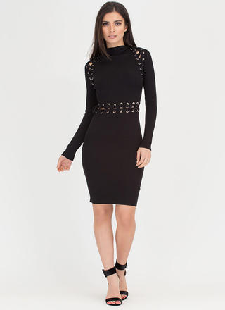 Punched Up Lace-Up Sweater Dress