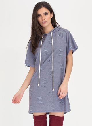 Hood Side Distressed Sweatshirt Dress