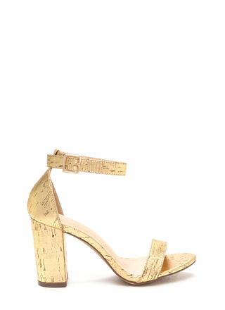 Killer Look Chunky Metallic Cork Heels