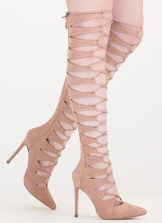 Valid Points Lace-Up Gladiator Heels