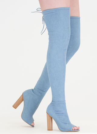 Jean Streak Chunky Tied Thigh-High Boots