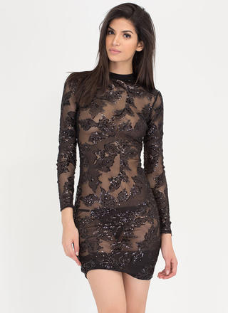 Sheer The Call Sequined Leaves Dress