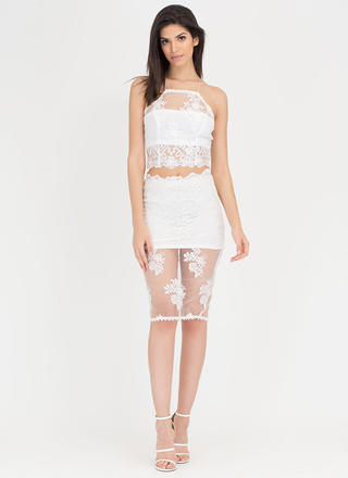 Sheer Of It Floral Lace Two-Piece Dress