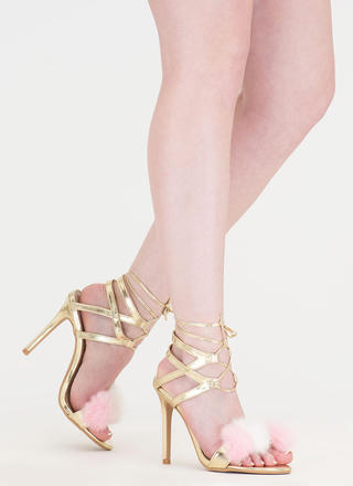 Pom-Pom Parade Metallic Lace-Up Heels