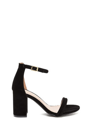Block Out Strappy Chunky Velvet Heels