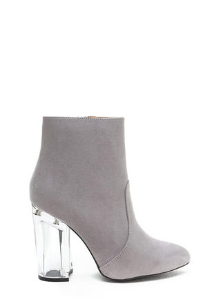 Crystal Clear Chunky Faux Suede Booties