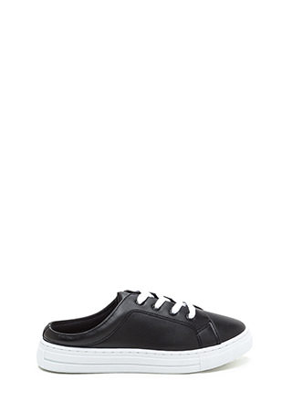 Slide By Lace-Up Faux Leather Sneakers