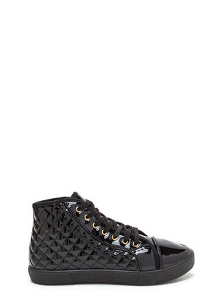 Quilt Me Faux Patent High-Top Sneakers