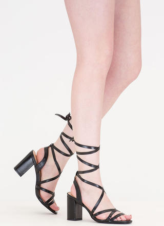 Tie And Mighty Strappy Chunky Heels
