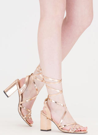 Tie And Mighty Metallic Chunky Heels