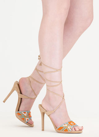 Bead You To It Tribal Lace-Up Heels