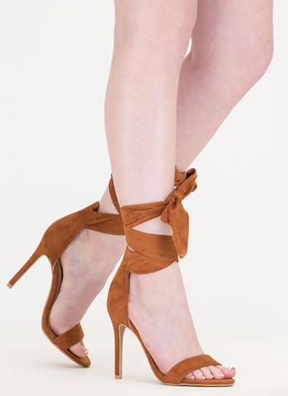 Turn The Tied Faux Suede Lace-Up Heels