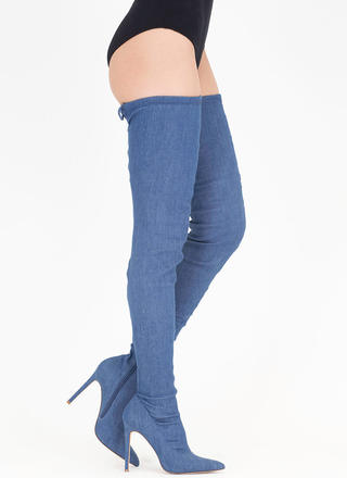 Tied Win Denim Over-The-Knee Boots