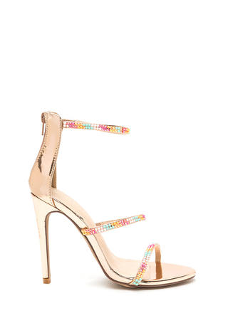 Jewel Thief Strappy Metallic Heels