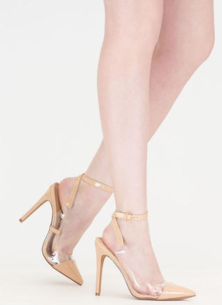 Clear Your Game Pointy Faux Patent Heels