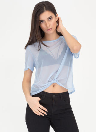 Knotty Choice Sheer Mesh Tee