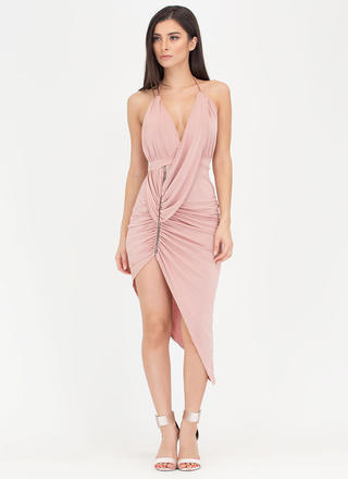 Hot Zip Ruched High-Low Halter Dress