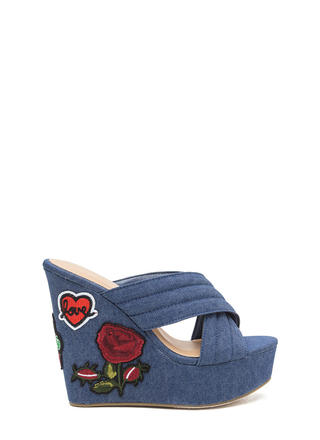Patch Me In Denim Platform Wedges