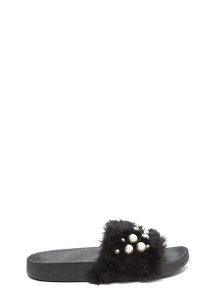 Diving For Pearls Faux Fur Slide Sandals