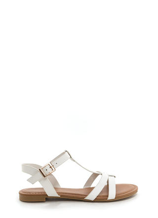 Sunny Day Faux Leather T-Strap Sandals