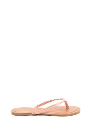 First Braid Faux Leather Thong Sandals