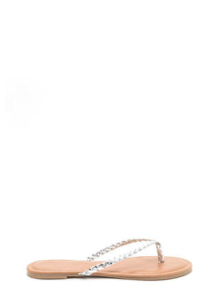 First Braid Metallic Thong Sandals