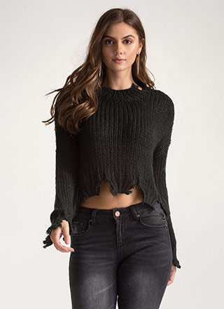 Cozy Ticket Chunky Distressed Sweater