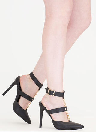 Main Chain Pointy T-Strap Heels