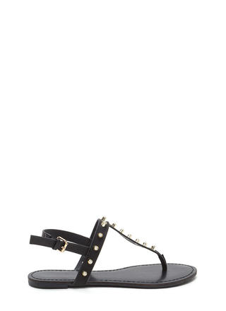 Light A Sparkler Studded T-Strap Sandals