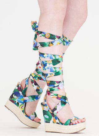 Flowers To Fruits Lace-Up Jute Wedges