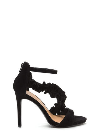 Evening Ruffles Strappy Faux Suede Heels