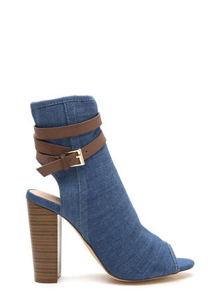 Let's Wrap Chunky Denim Booties