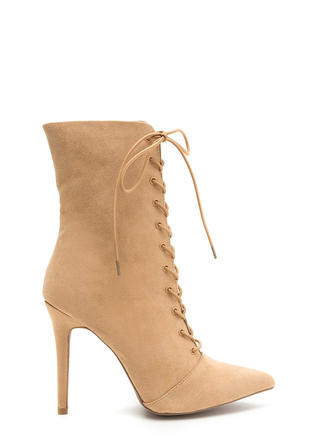 Make A Point Lace-Up Stiletto Booties