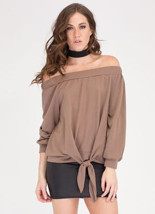 Sun Kissed Off-Shoulder Knotted Top