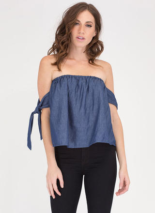 Seaside Trip Chambray Off-Shoulder Top