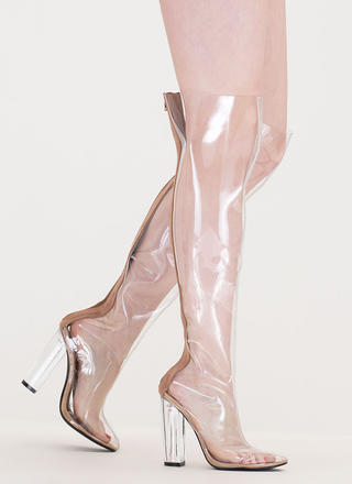 Clearly You Over-The-Knee Lucite Boots