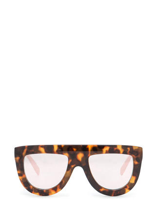 Flat-Top Cut Mirrored Sunglasses