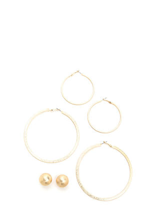 Threesome Textured Earring Trio