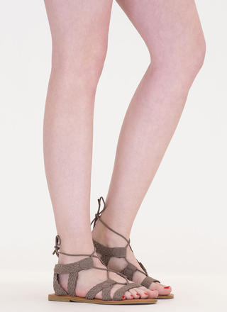 Woven Together Strappy Lace-Up Sandals