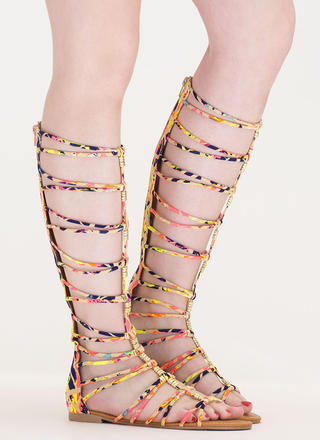 Up The Ladder Abstract Gladiator Sandals