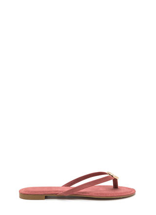 Outer Circle Faux Suede Thong Sandals