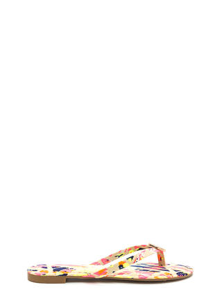 Outer Circle Abstract Print Sandals