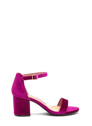 Blocked Off Chunky Velvet Heels